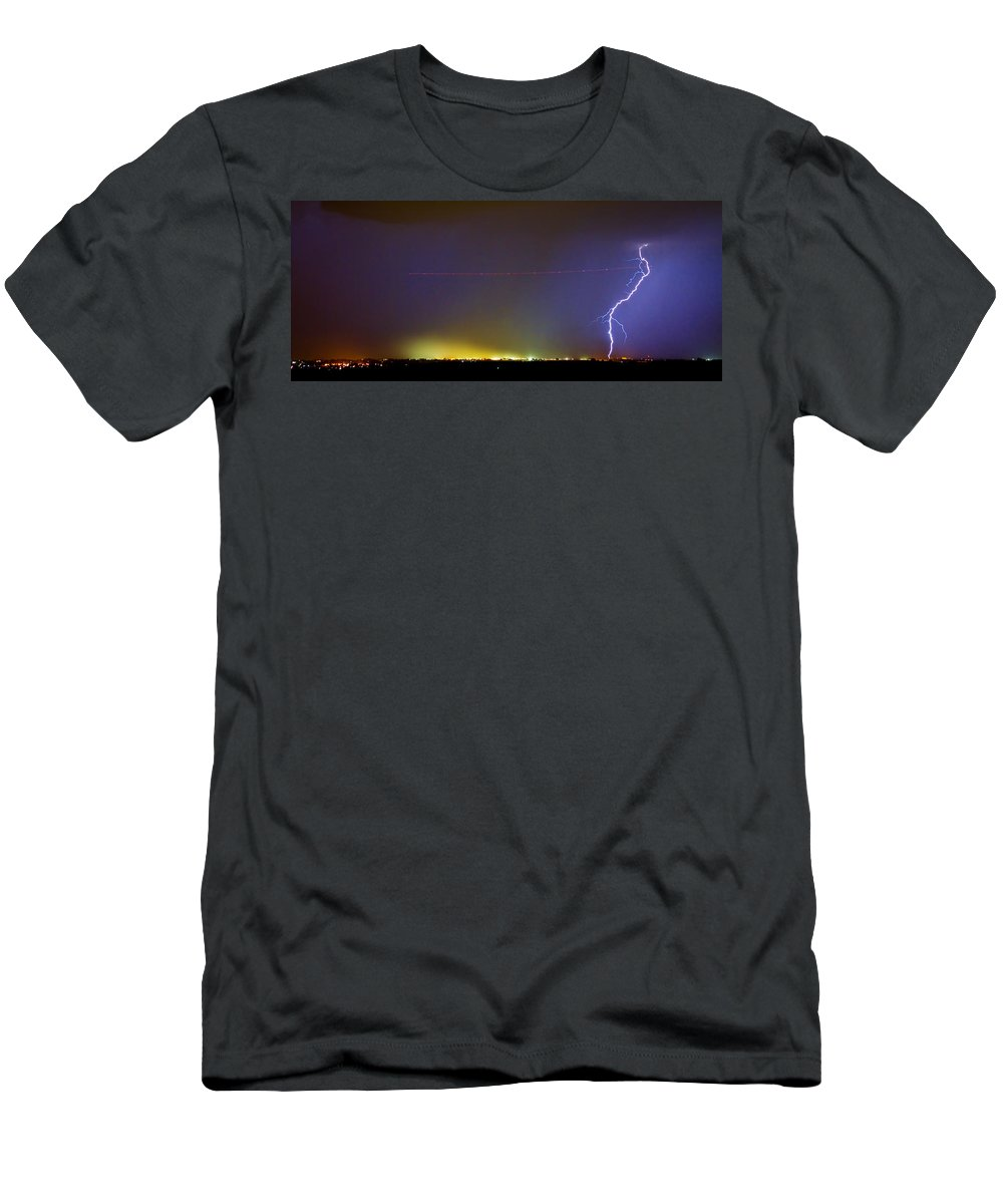Lightning Men's T-Shirt (Athletic Fit) featuring the photograph Jet Over Colorful City Lights And Lightning Strike Panorama by James BO Insogna