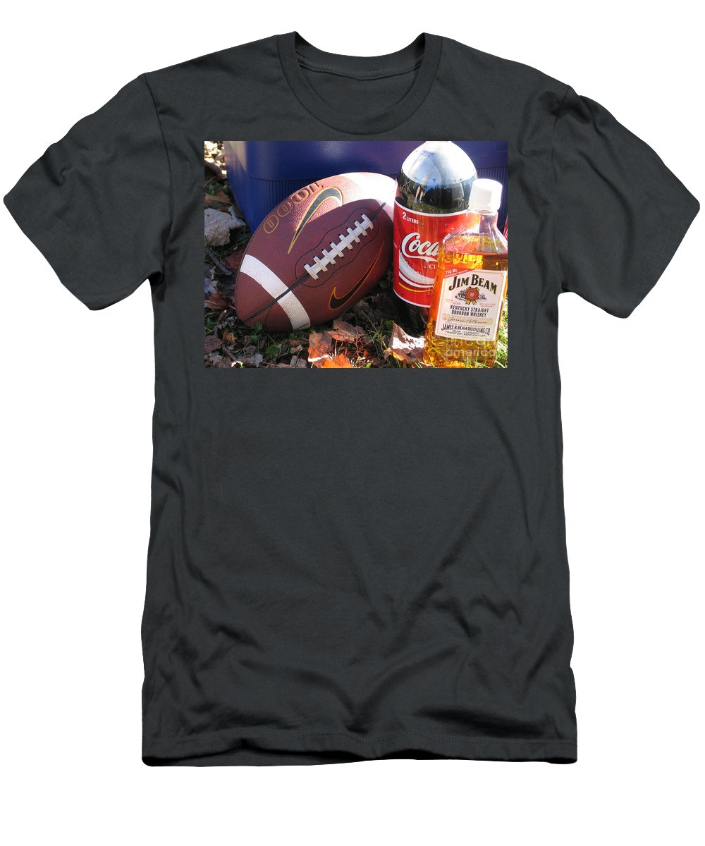 Football Men's T-Shirt (Athletic Fit) featuring the photograph Jim Beam Coke And Football by Jason O Watson