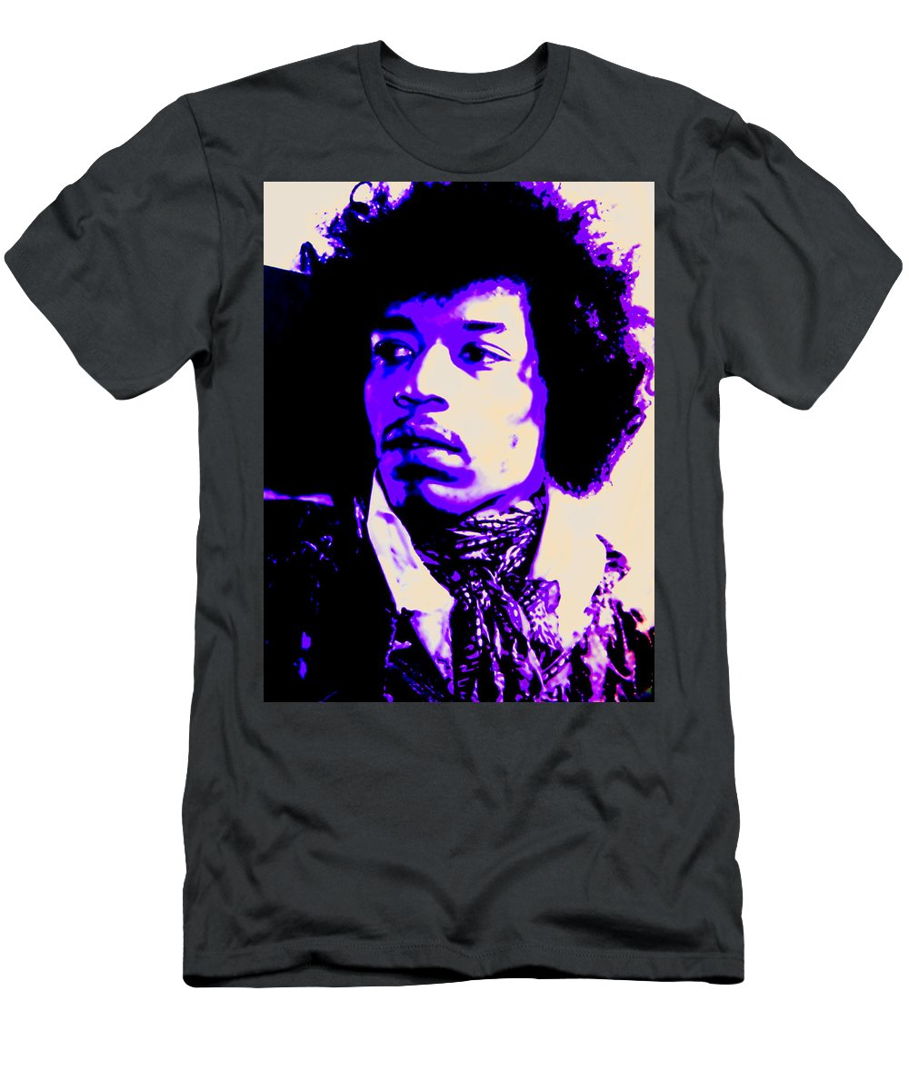 Jimi Hendrix Men's T-Shirt (Athletic Fit) featuring the mixed media Jimi Hendrix by Michelle Dallocchio