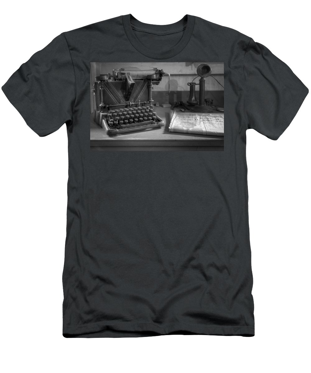Kennedy Men's T-Shirt (Athletic Fit) featuring the photograph John F Kennedy by Debra and Dave Vanderlaan