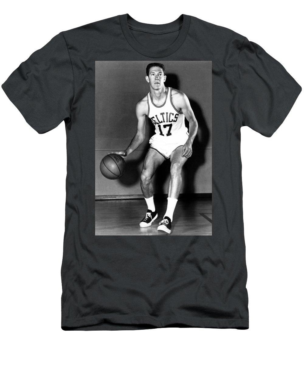 John Havlicek Men's T-Shirt (Athletic Fit) featuring the photograph John Havlicek Of The Boston Celtics 1960s by Mountain Dreams