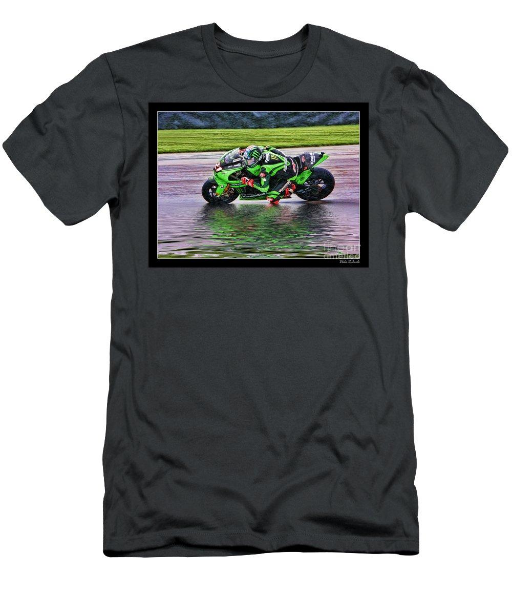 John Hopkins Men's T-Shirt (Athletic Fit) featuring the photograph John Hopkins 2005 Motogp Red Bull Suzuki by Blake Richards
