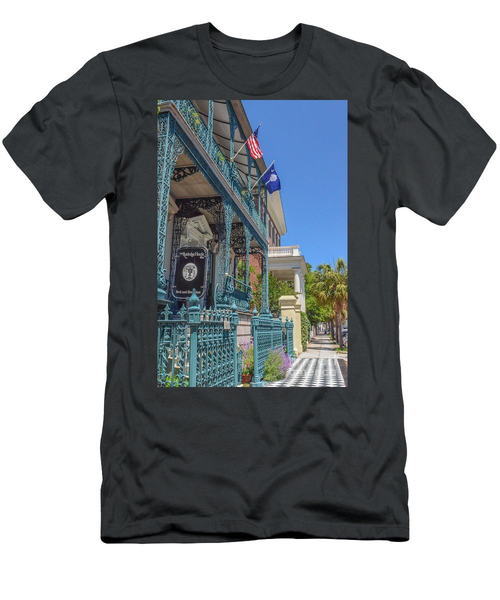 Ornate Fence Men's T-Shirt (Athletic Fit) featuring the photograph John Rutledge House by Dale Powell