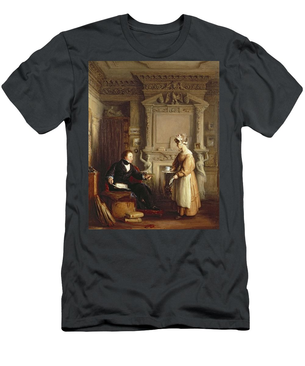Servant Victorian Sentiment Men's T-Shirt (Athletic Fit) featuring the photograph John Sheepshanks And His Maid by William Mulready