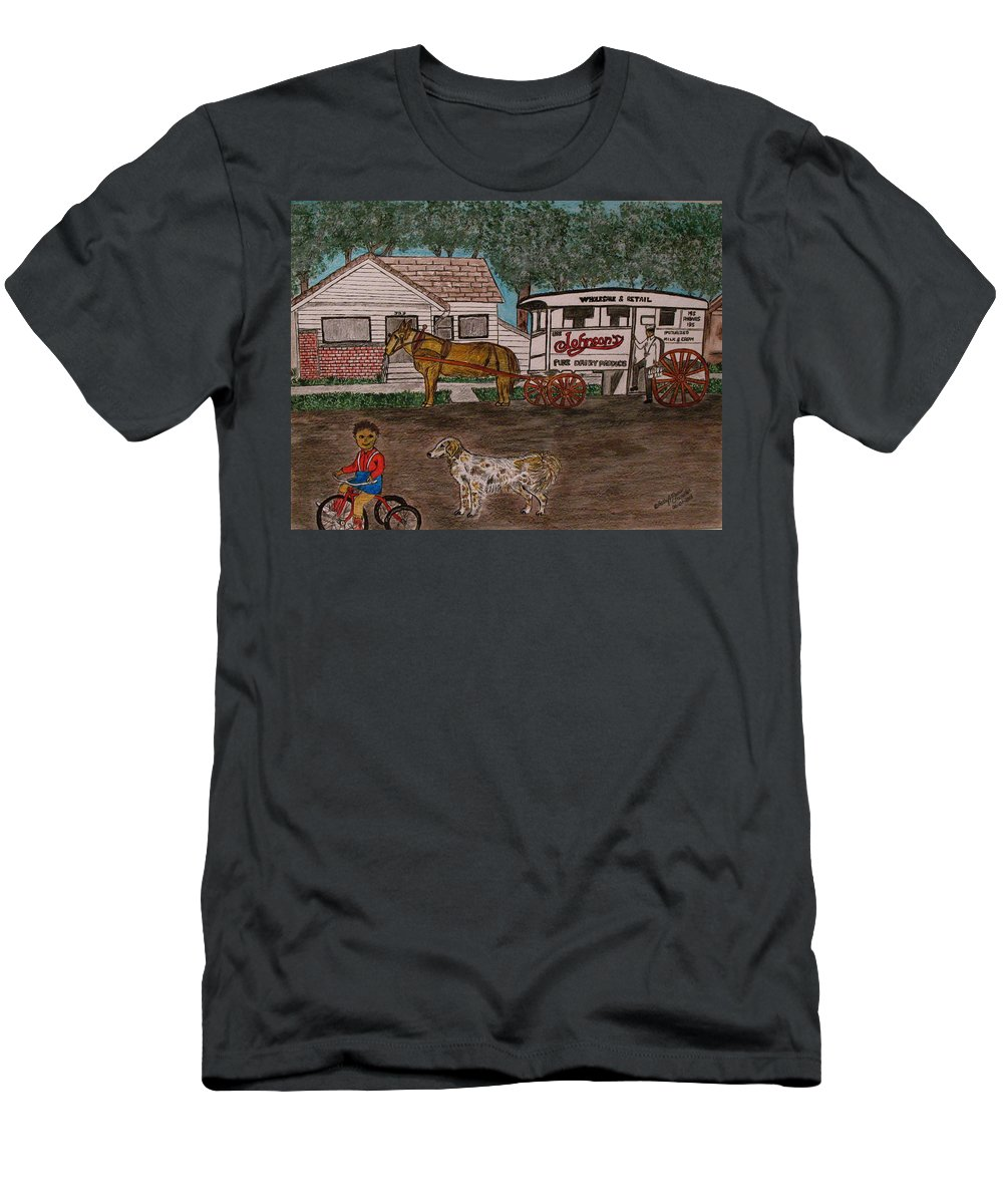 Johnson Creamery T-Shirt featuring the painting Johnsons Milk Wagon Pulled by a Horse by Kathy Marrs Chandler
