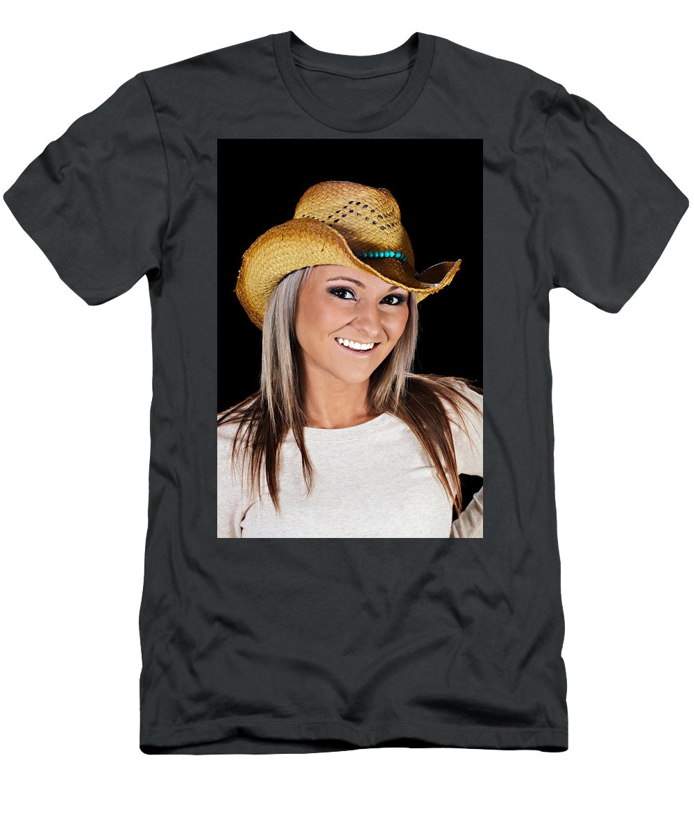 Closeup Men's T-Shirt (Athletic Fit) featuring the photograph Just A Country Girl by Paul Fell