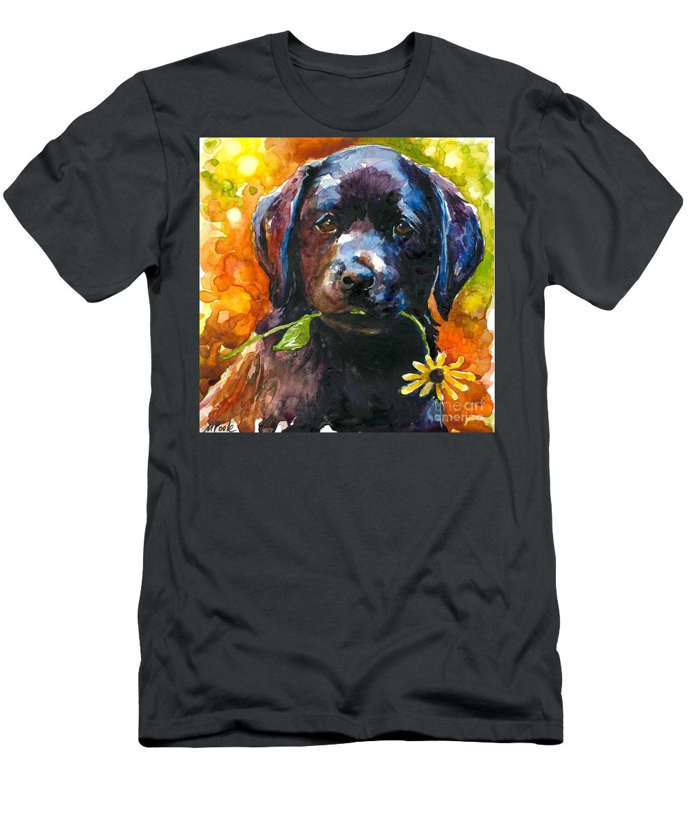 Black Lab Puppy Men's T-Shirt (Athletic Fit) featuring the painting Just Picked by Molly Poole