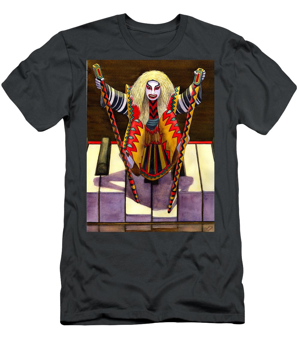 Kabuki Men's T-Shirt (Athletic Fit) featuring the painting Kabuki Chopsticks 1 by Catherine G McElroy