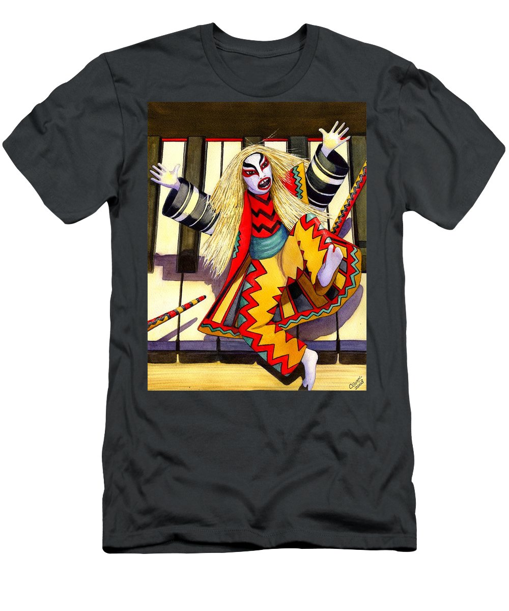 Kabuki Men's T-Shirt (Athletic Fit) featuring the painting Kabuki Chopsticks 3 by Catherine G McElroy