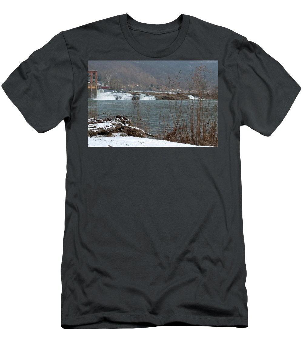 Interior Design Men's T-Shirt (Athletic Fit) featuring the photograph Kanawha Falls - Winter by Paulette B Wright