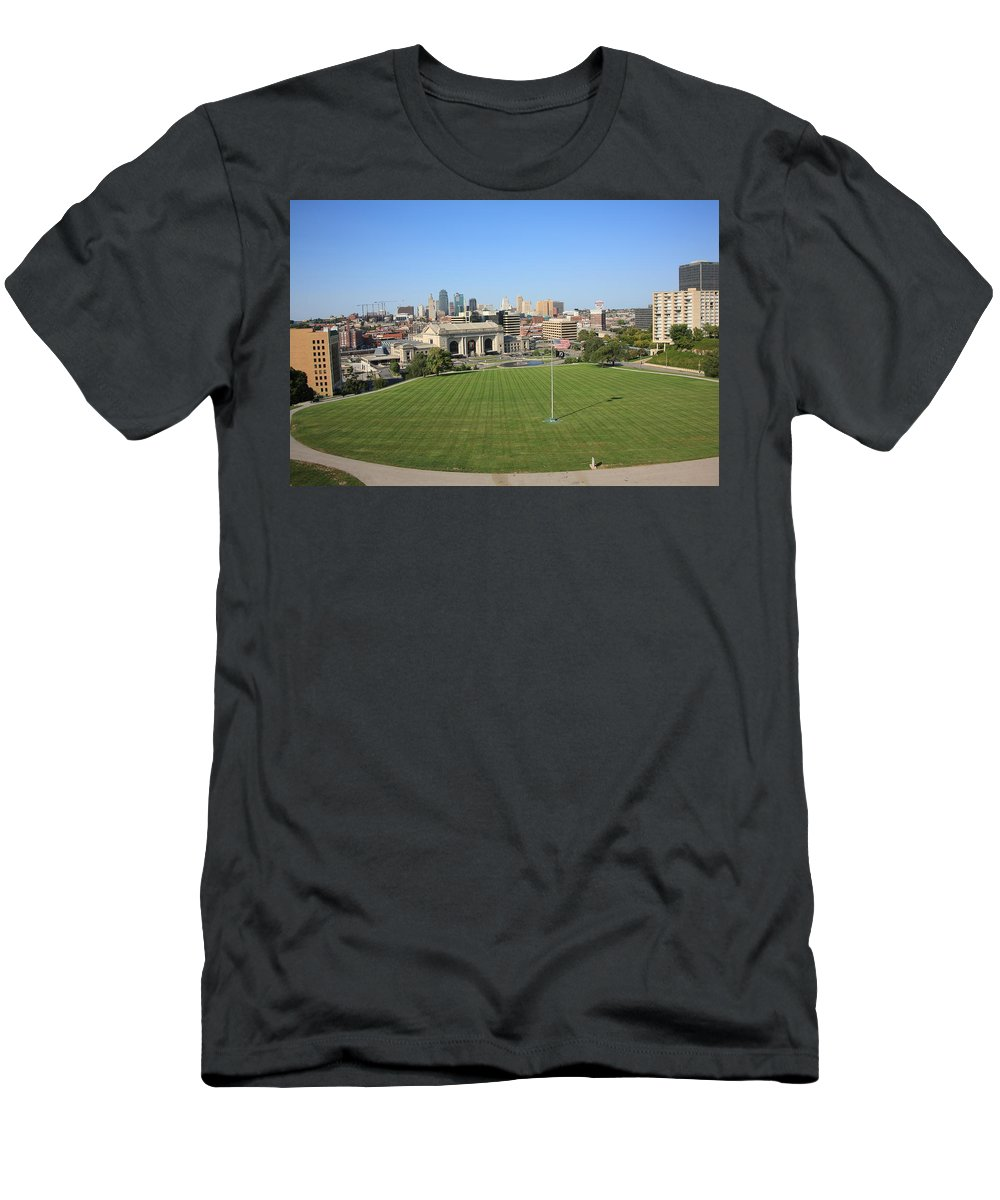 America Men's T-Shirt (Athletic Fit) featuring the photograph Kansas City Skyline And Park by Frank Romeo