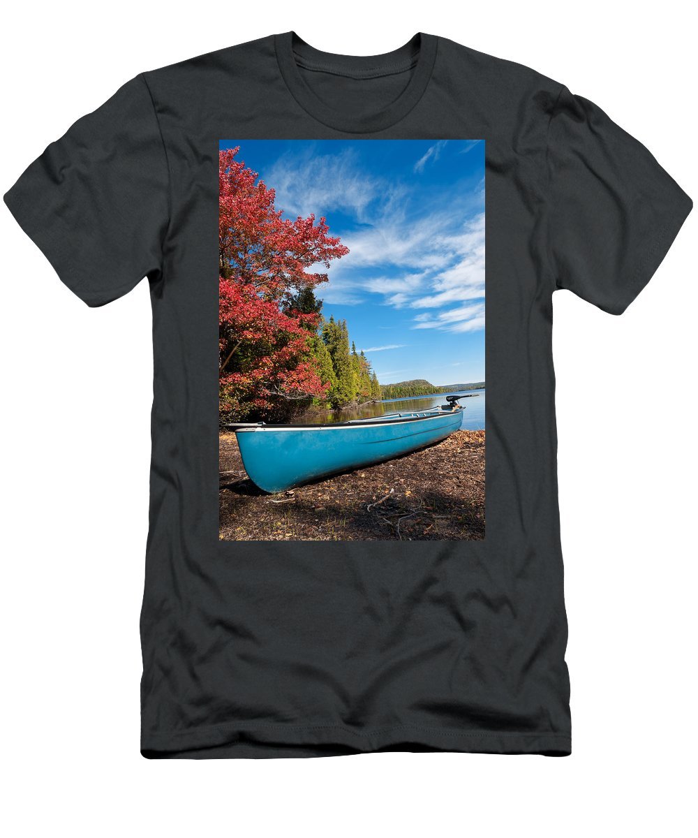 Autumn Men's T-Shirt (Athletic Fit) featuring the photograph Kayak Boat During Sunny Day by U Schade