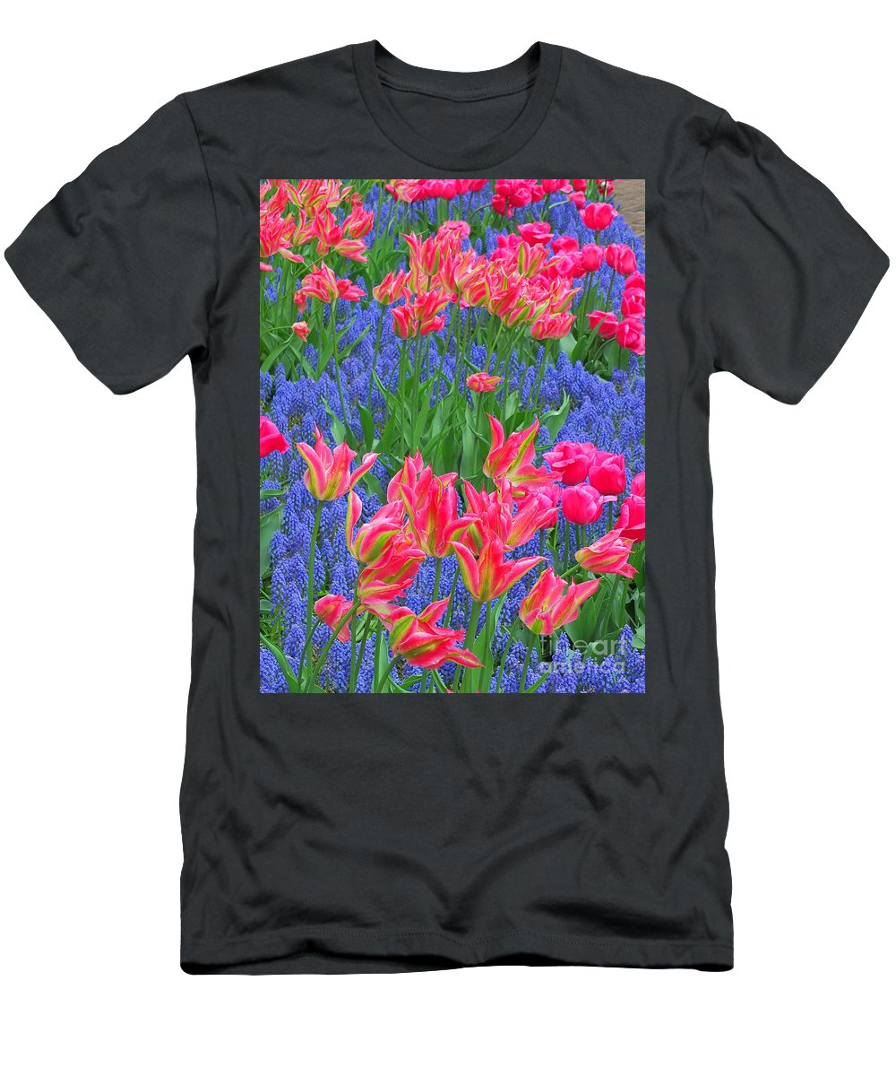 Keukenhof Gardens Men's T-Shirt (Athletic Fit) featuring the photograph Keukenhof Gardens 5 by Mike Nellums