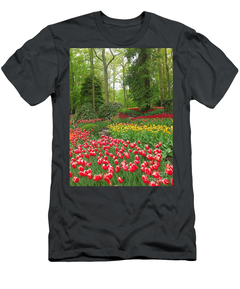 Keukenhof Gardens Men's T-Shirt (Athletic Fit) featuring the photograph Keukenhof Gardens 53 by Mike Nellums