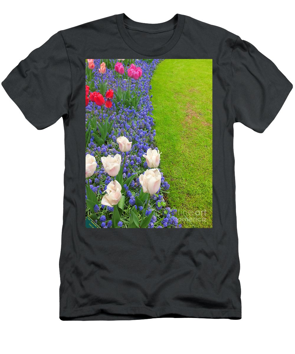 Keukenhof Gardens Men's T-Shirt (Athletic Fit) featuring the photograph Keukenhof Gardens 55 by Mike Nellums