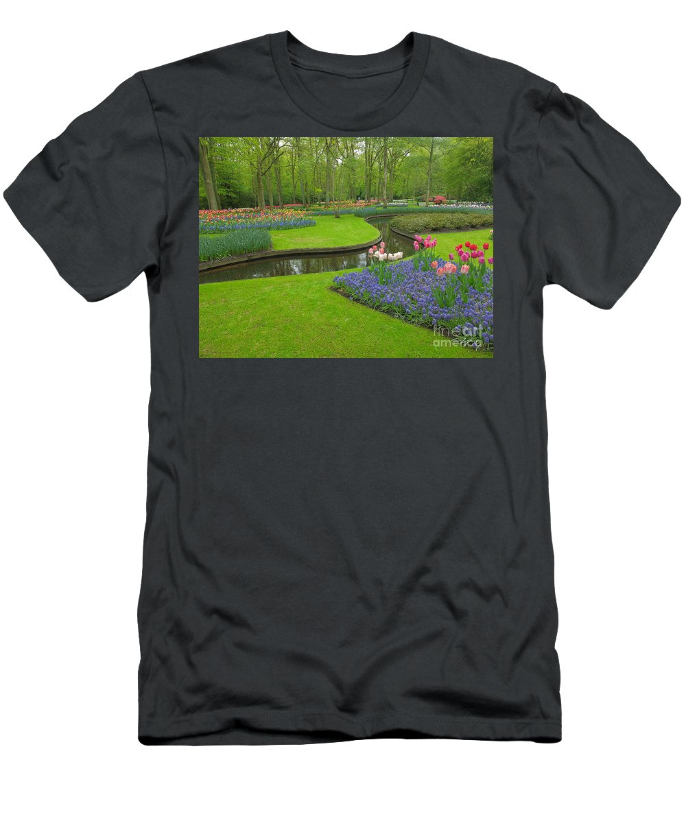 Keukenhof Gardens Men's T-Shirt (Athletic Fit) featuring the photograph Keukenhof Gardens 56 by Mike Nellums
