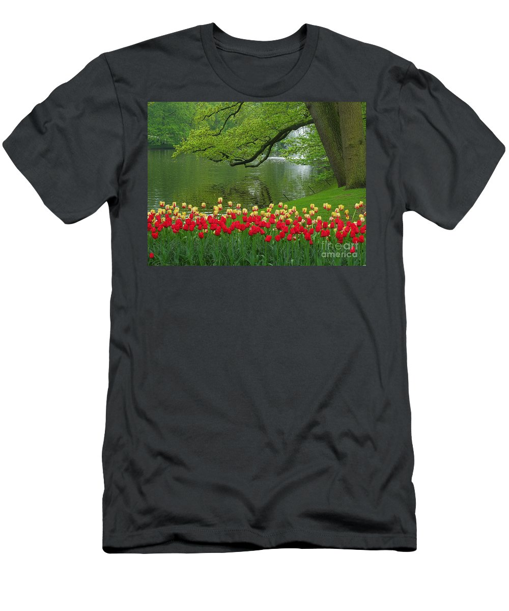 Keukenhof Gardens Men's T-Shirt (Athletic Fit) featuring the photograph Keukenhof Gardens 84 by Mike Nellums