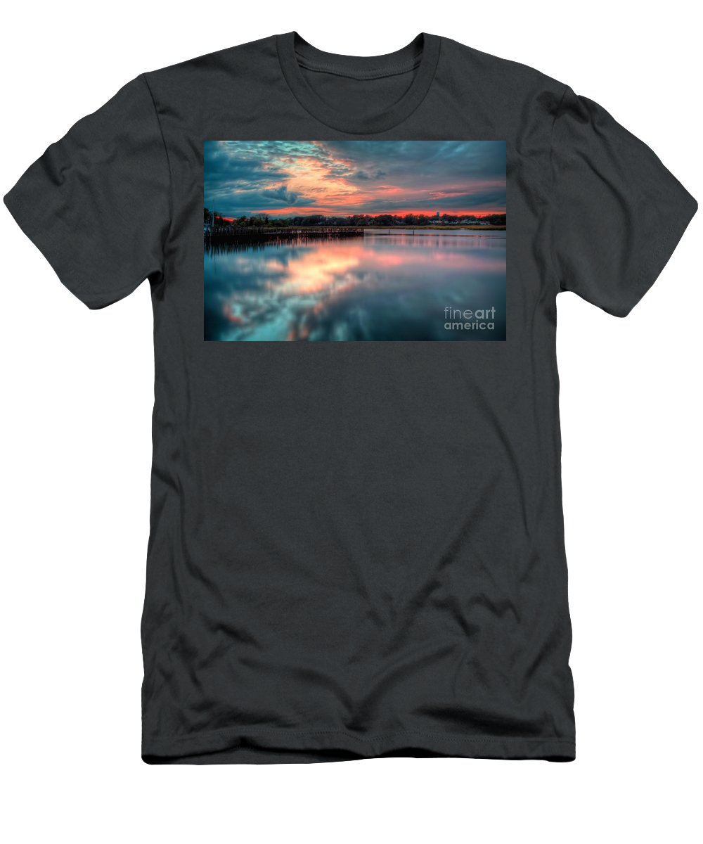 Hdr Men's T-Shirt (Athletic Fit) featuring the photograph Keyport Nj Sunset Reflections by Michael Ver Sprill