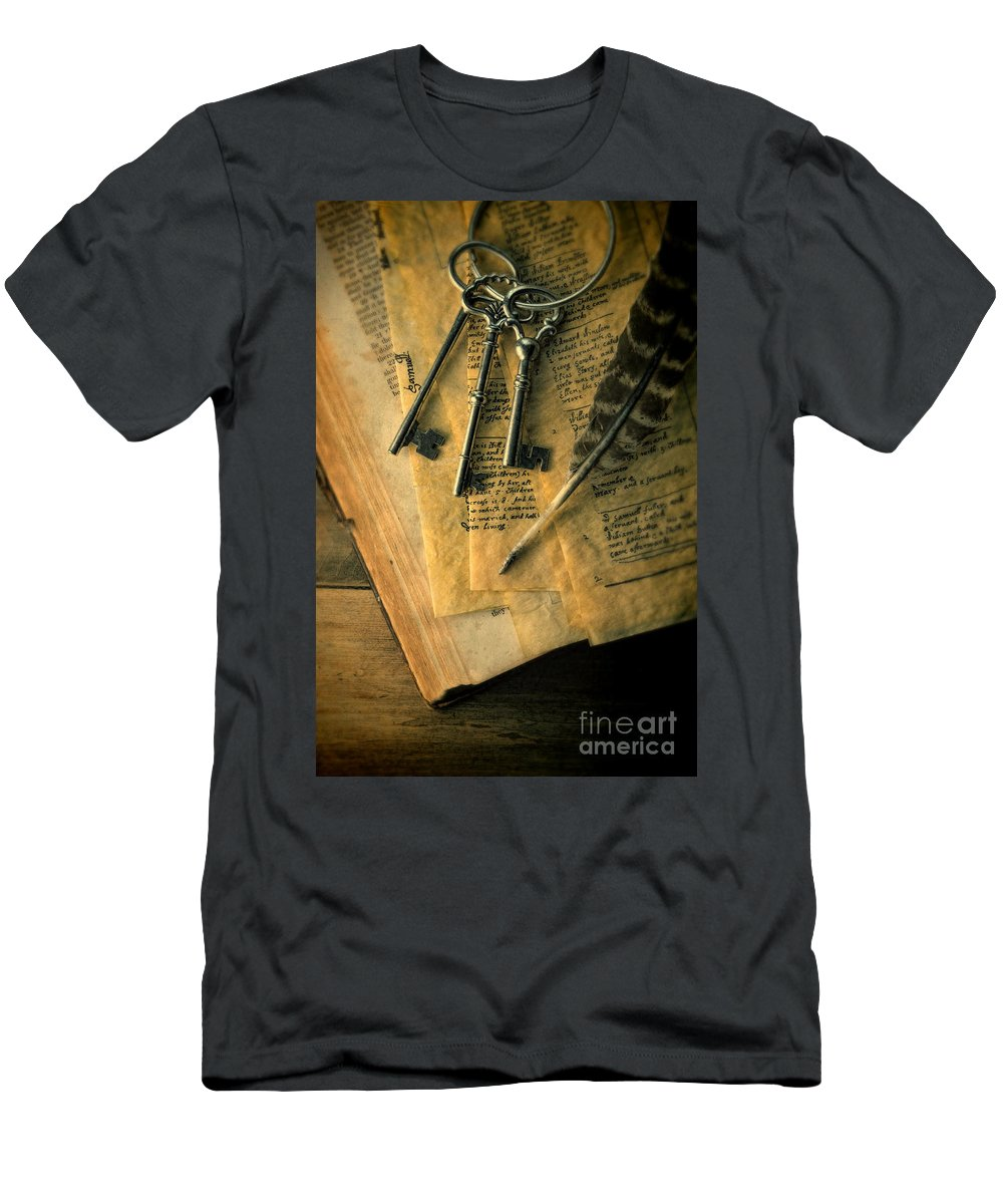 Keys Men's T-Shirt (Athletic Fit) featuring the photograph Keys And Quill On Old Papers by Jill Battaglia