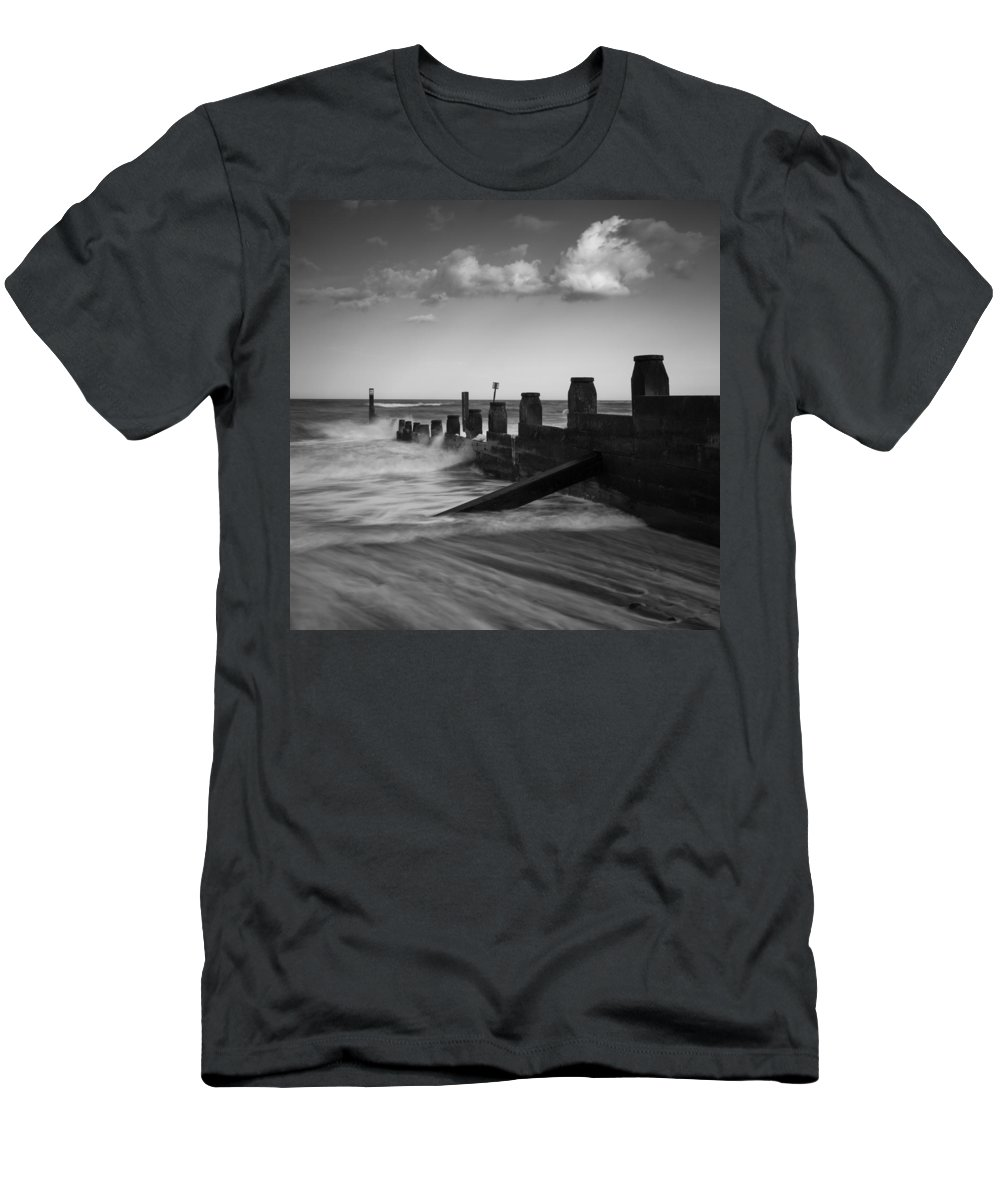 Southwold Men's T-Shirt (Athletic Fit) featuring the photograph Kicked In The Groyne by Dayne Reast