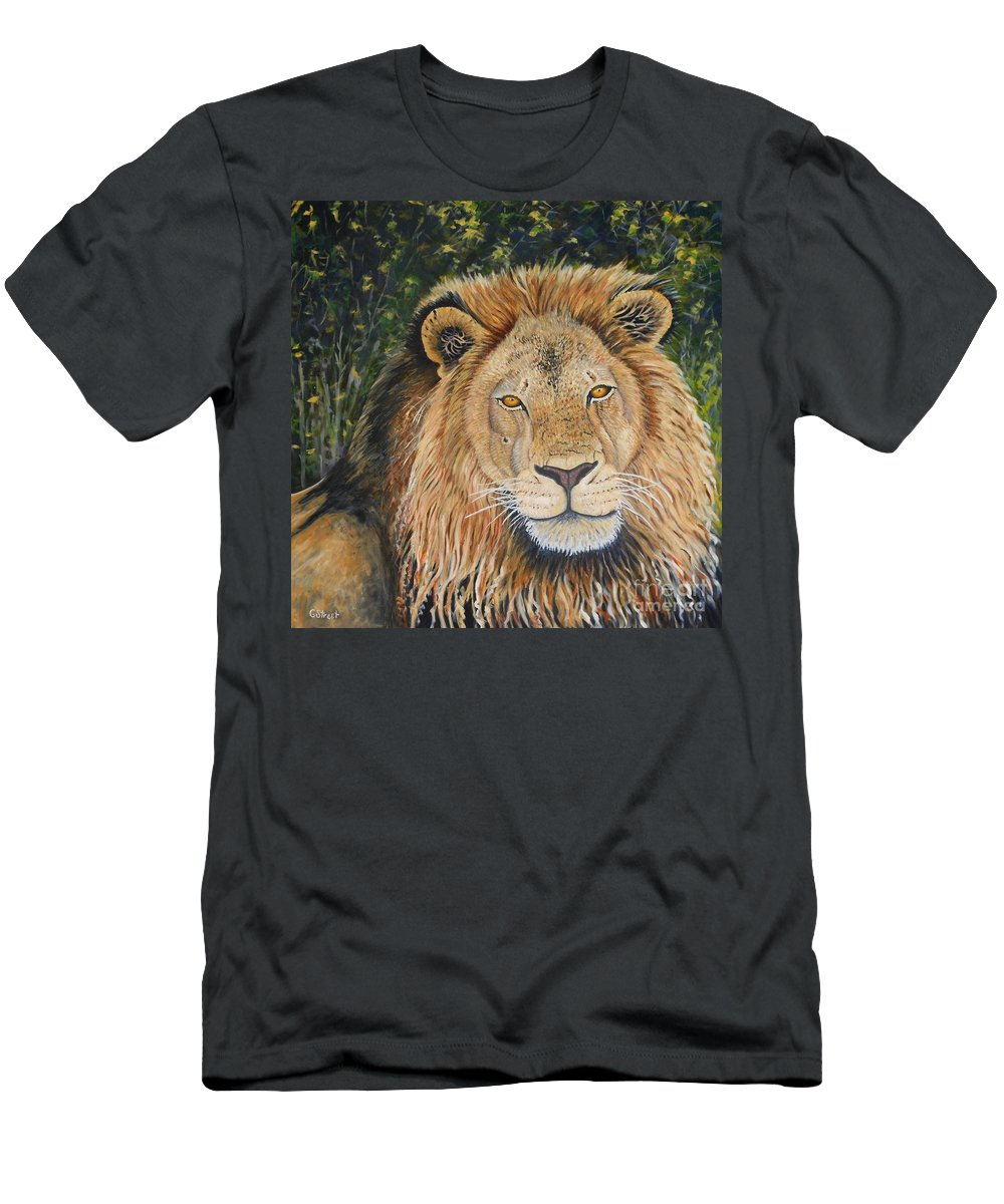 Wildlife Men's T-Shirt (Athletic Fit) featuring the painting King Of The African Savannah by Caroline Street