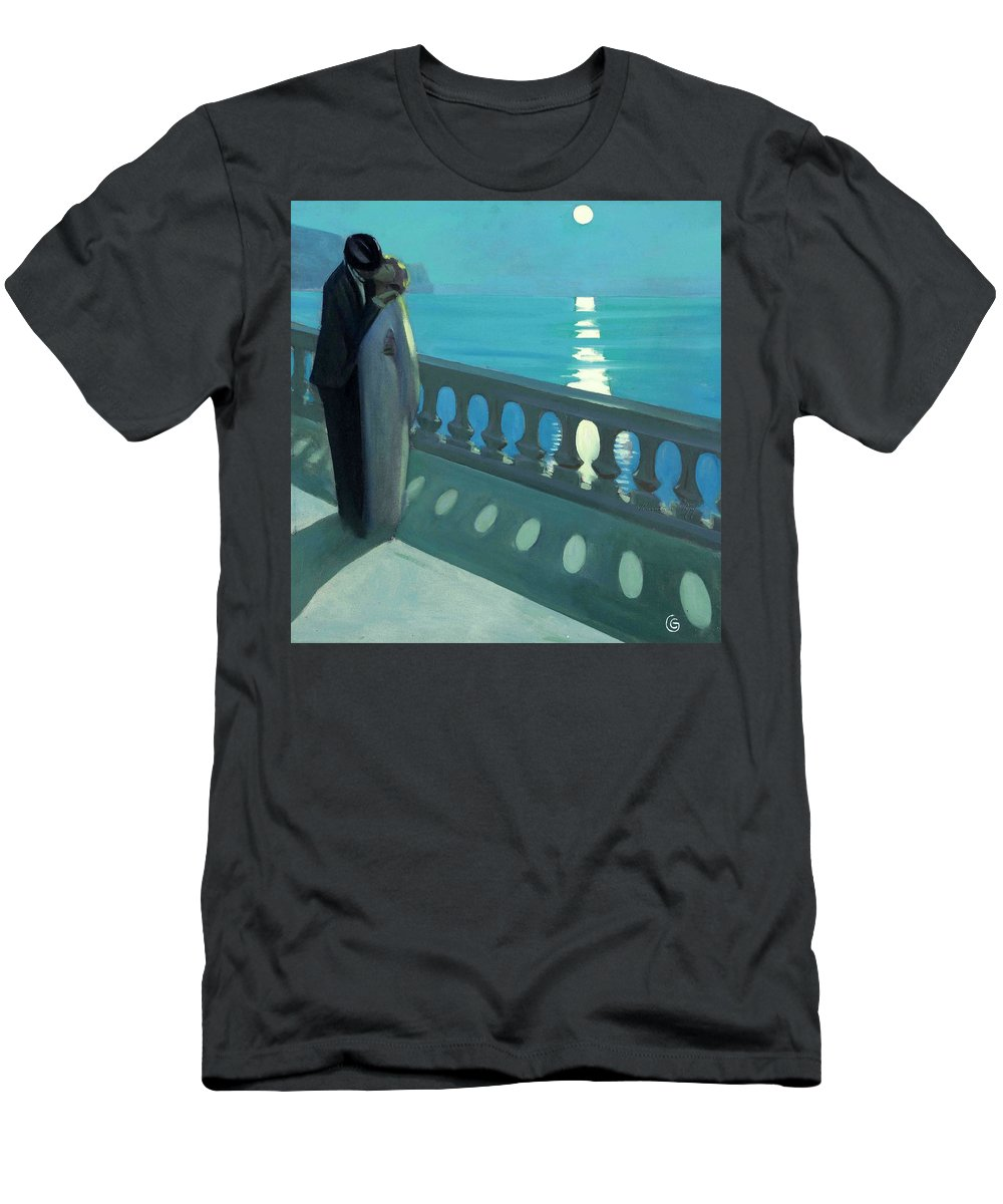 Belgian Men's T-Shirt (Athletic Fit) featuring the painting Kiss By Moonlight by Unknown 19th century Belgian artist
