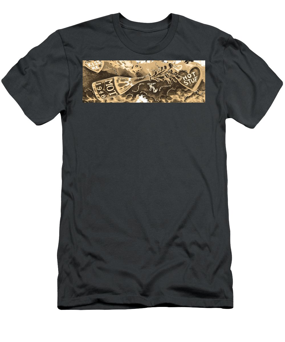 Digital Art Men's T-Shirt (Athletic Fit) featuring the photograph Kiss Me Hot Stuf In Sepia by Marian Bell