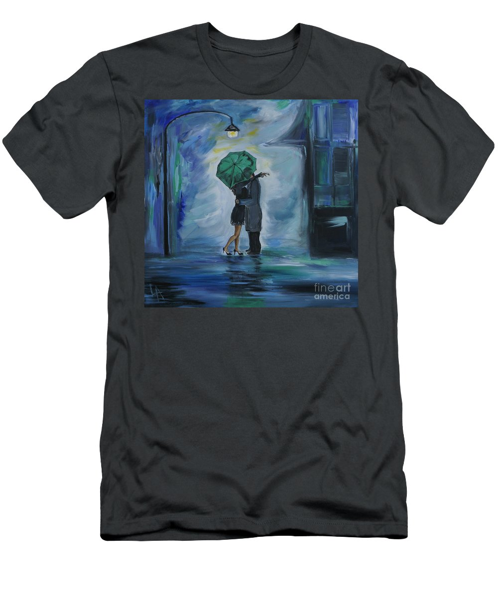 Couple Men's T-Shirt (Athletic Fit) featuring the painting Kiss Me One More Time by Leslie Allen