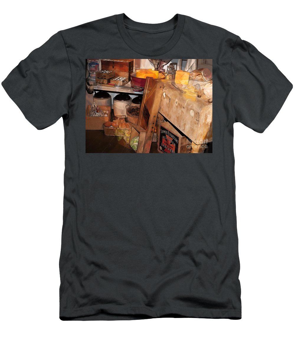 Kitchen Men's T-Shirt (Athletic Fit) featuring the photograph Kitchen - Food - Meat - Cheese - Eggs by Liane Wright