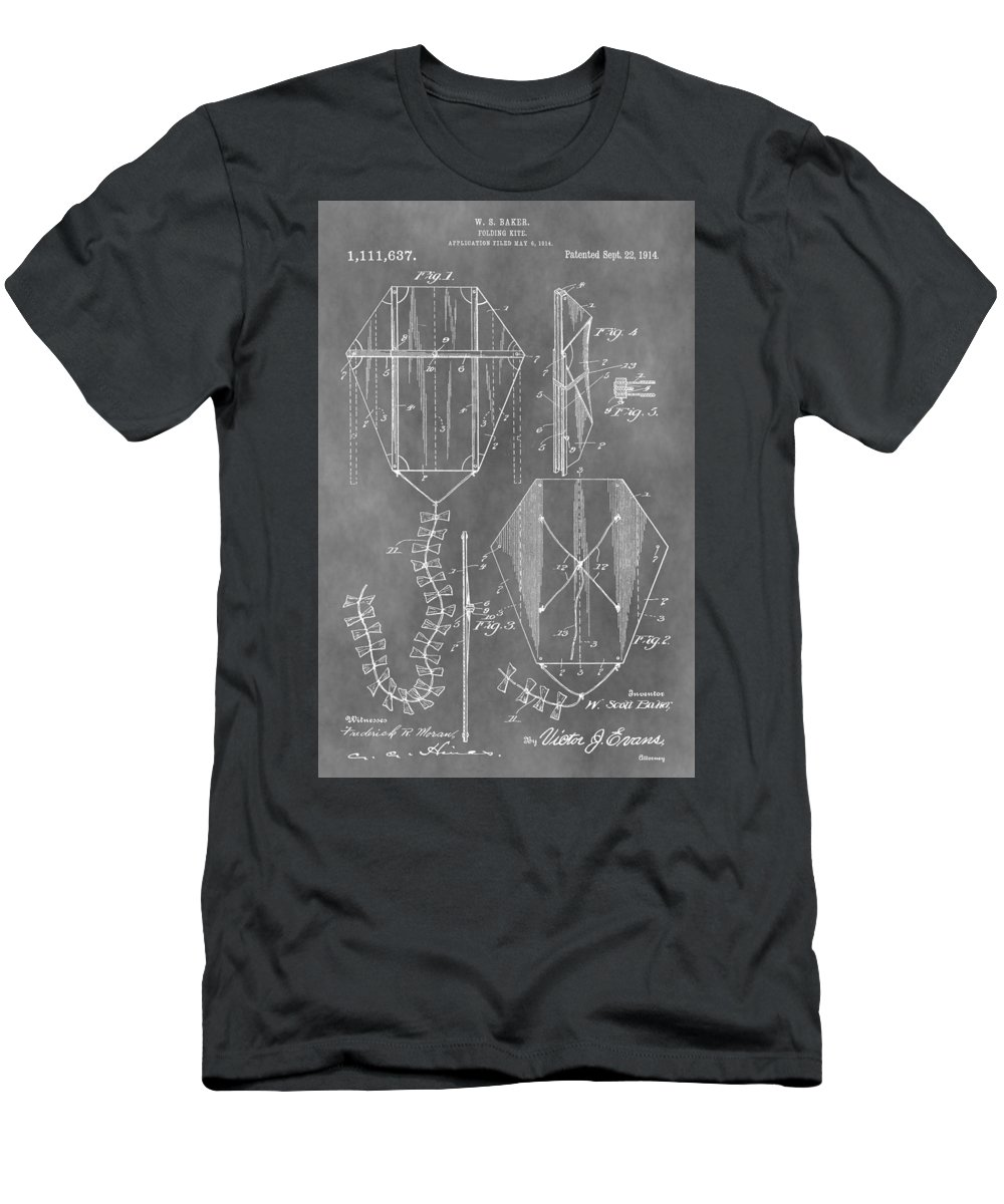 Vintage Kite Patent Men's T-Shirt (Athletic Fit) featuring the mixed media Kite Patent by Dan Sproul