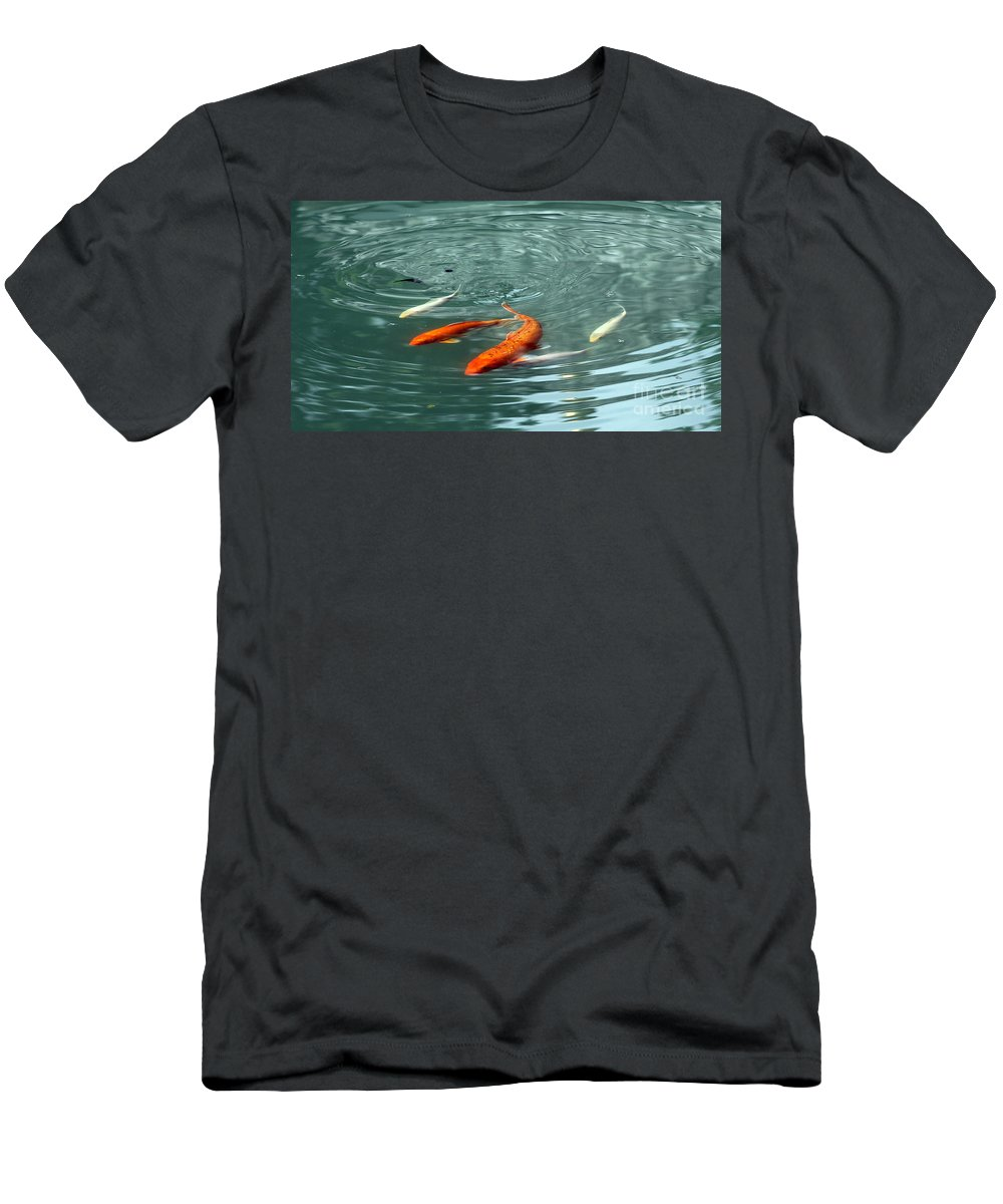 Blue Men's T-Shirt (Athletic Fit) featuring the photograph Koi With Sky Reflection by Renee Croushore