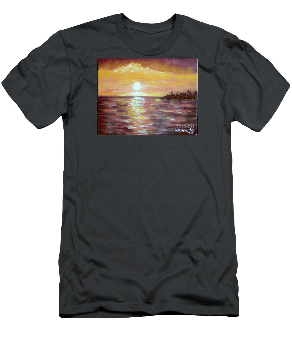 Sunset Men's T-Shirt (Athletic Fit) featuring the painting Kona Sunset by Laurie Morgan