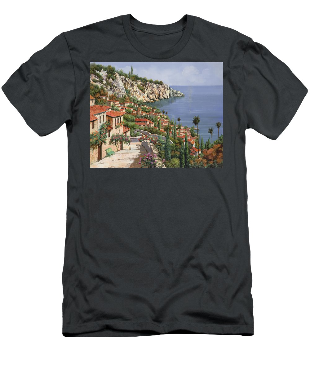 Seascape Men's T-Shirt (Athletic Fit) featuring the painting La Costa by Guido Borelli