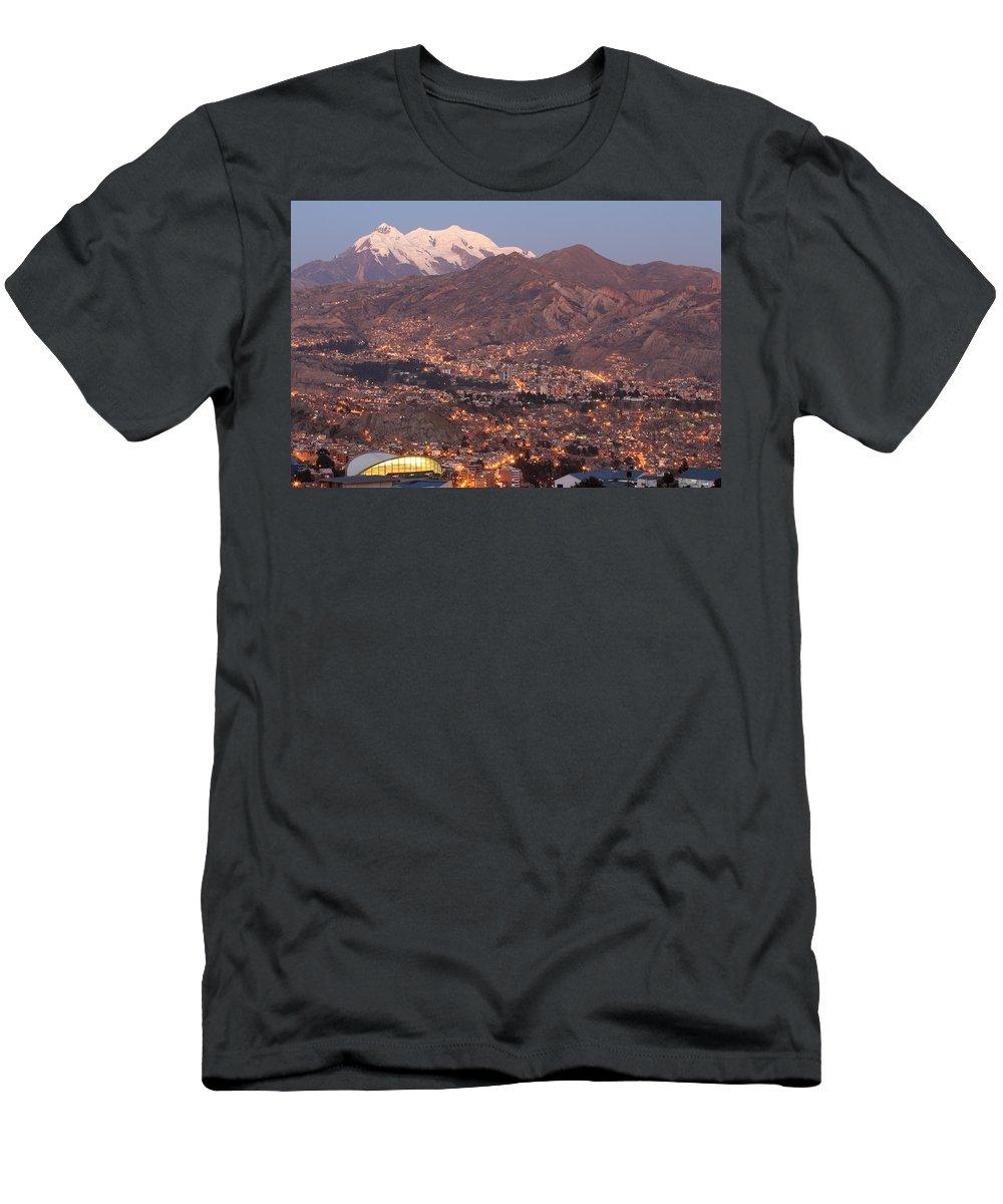 La Paz Men's T-Shirt (Athletic Fit) featuring the photograph La Paz Skyline At Sundown by Tom Broadhurst