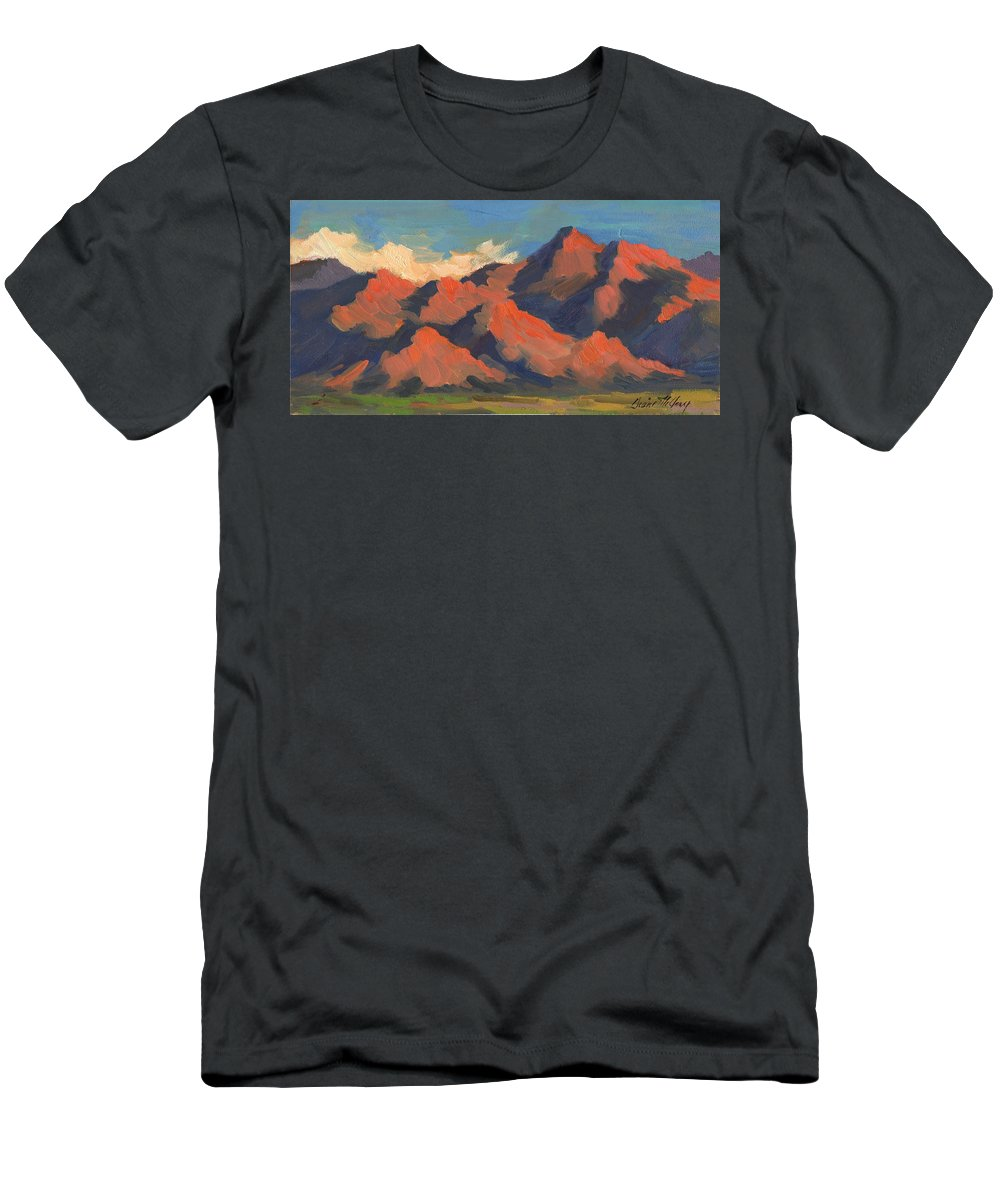 La Quinta Mountains Morning Men's T-Shirt (Athletic Fit) featuring the painting La Quinta Mountains Morning by Diane McClary