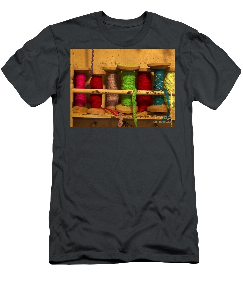 Lace Men's T-Shirt (Athletic Fit) featuring the photograph Lace Bobbins by Gillian Singleton