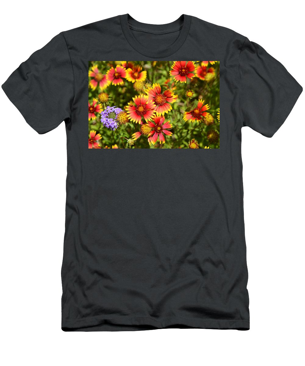 Lady Men's T-Shirt (Athletic Fit) featuring the photograph Lady Bird And Her Flowers by Lynn Bauer