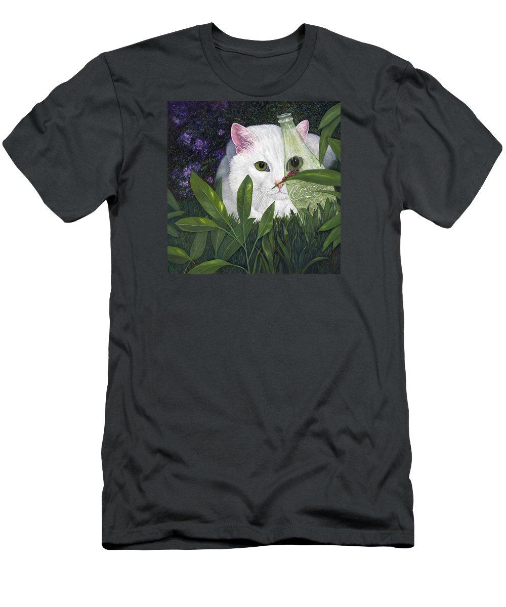 White Cat Art T-Shirt featuring the painting Ladybugs and Cat by Karen Zuk Rosenblatt