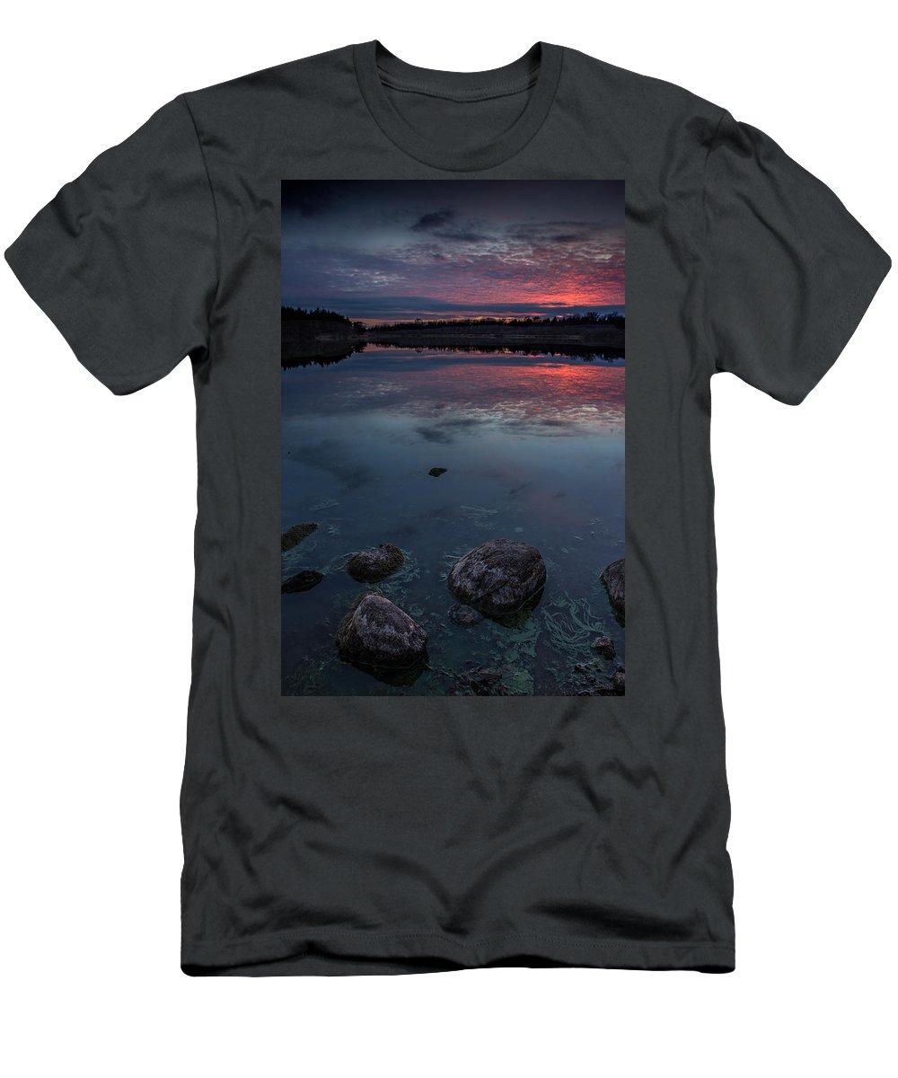 Dusk Men's T-Shirt (Athletic Fit) featuring the photograph Lake Alvin Dusk by Aaron J Groen