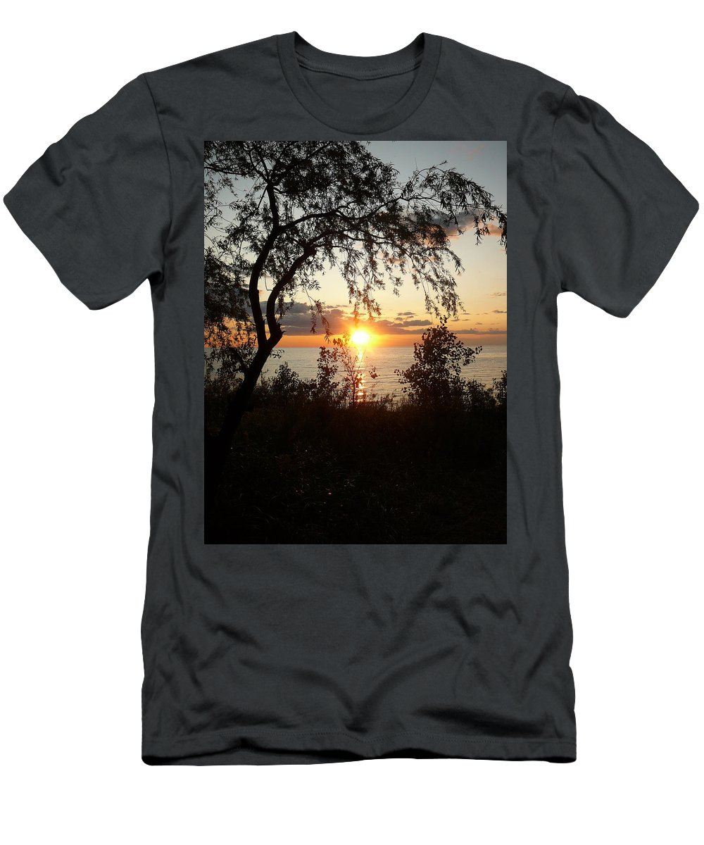 Sunset Men's T-Shirt (Athletic Fit) featuring the photograph Lake Huron Setting Sun by Two Bridges North