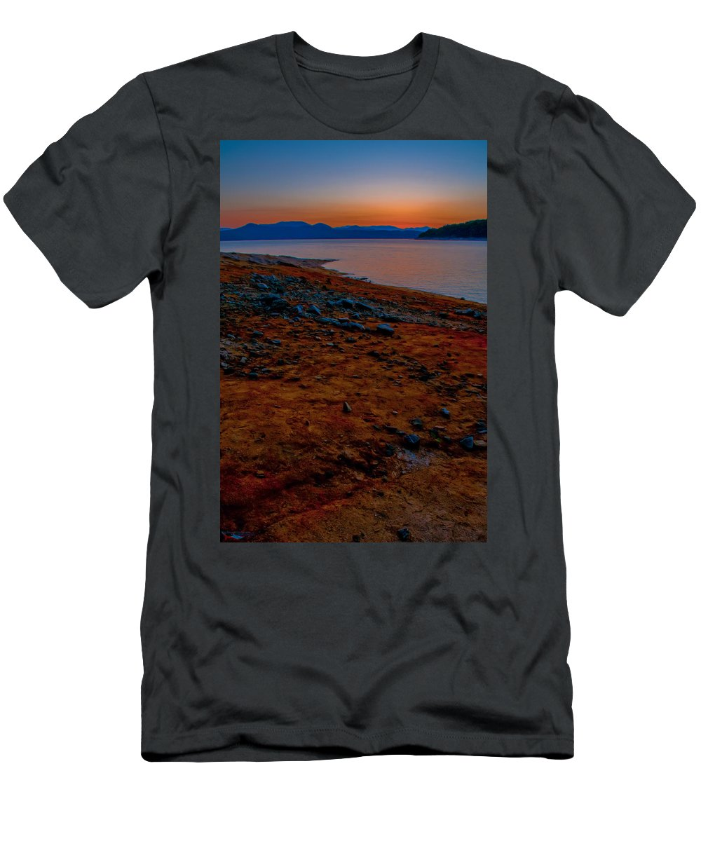 Aerial Men's T-Shirt (Athletic Fit) featuring the photograph Lake Jocassee Sunrise by Alex Grichenko
