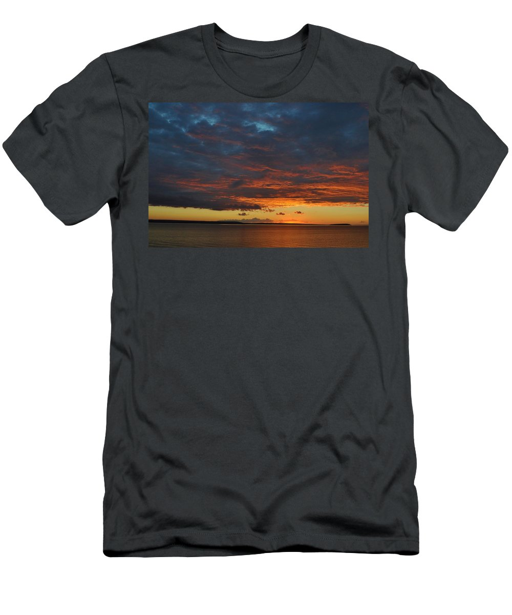Lake Superior Men's T-Shirt (Athletic Fit) featuring the photograph Lake Superior Sunset by Kathryn Lund Johnson