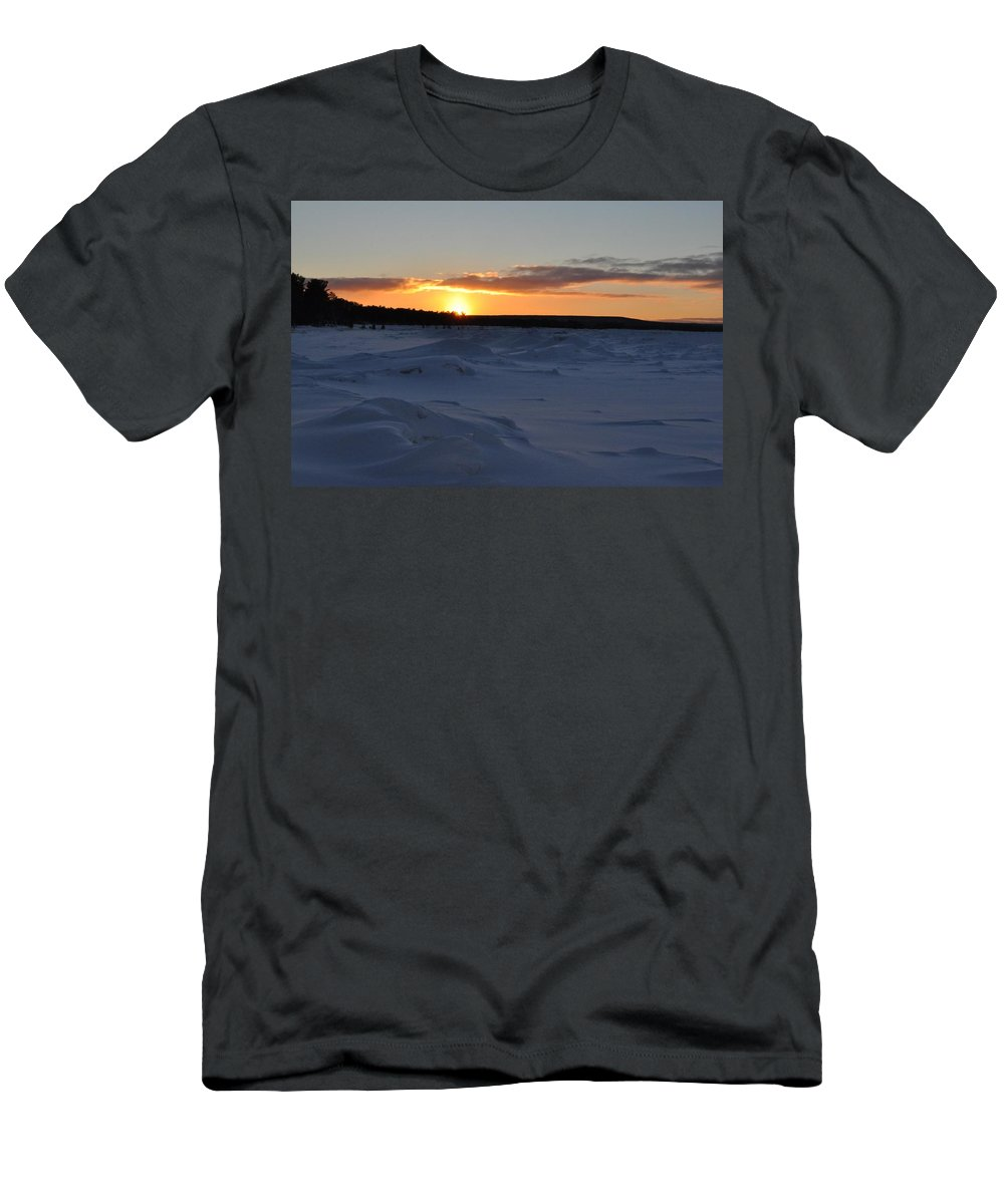 Lake Superior Men's T-Shirt (Athletic Fit) featuring the photograph Lake Superior Winter Sunset 2 by Kathryn Lund Johnson