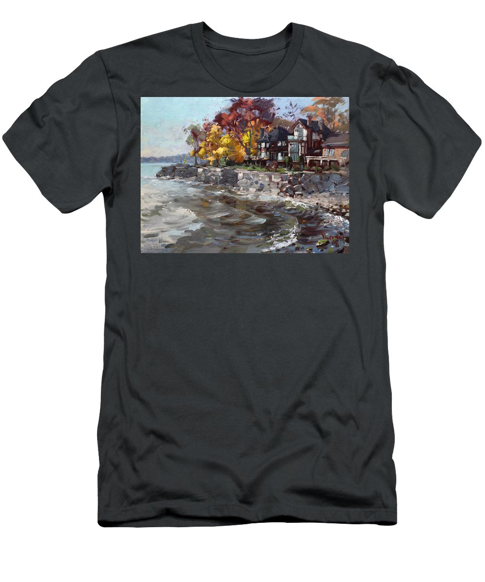 Lakeshore Mississauga Men's T-Shirt (Athletic Fit) featuring the painting Lakeshore Mississauga by Ylli Haruni