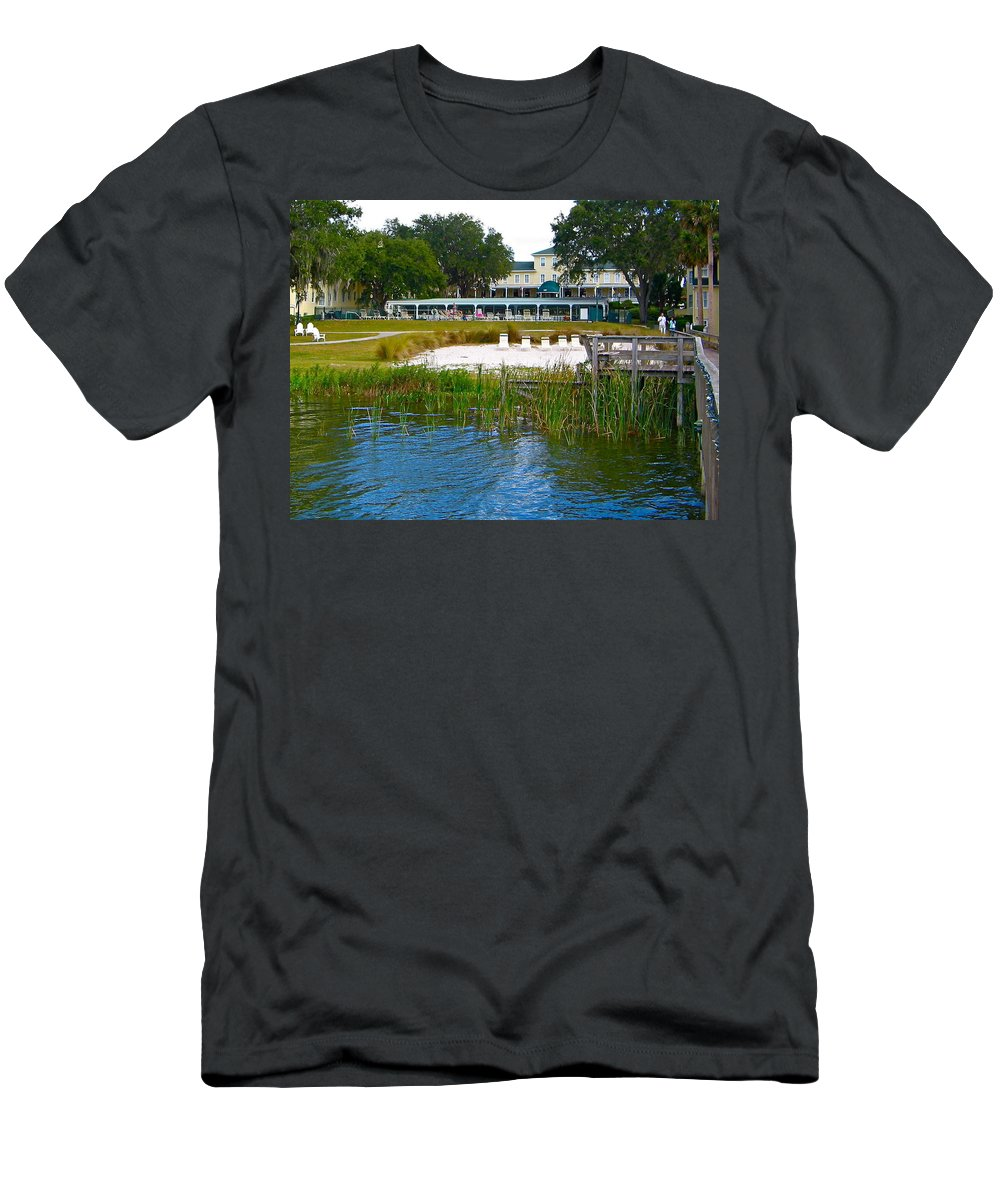 Lakeside Inn Men's T-Shirt (Athletic Fit) featuring the photograph Lakeside Inn by Denise Mazzocco