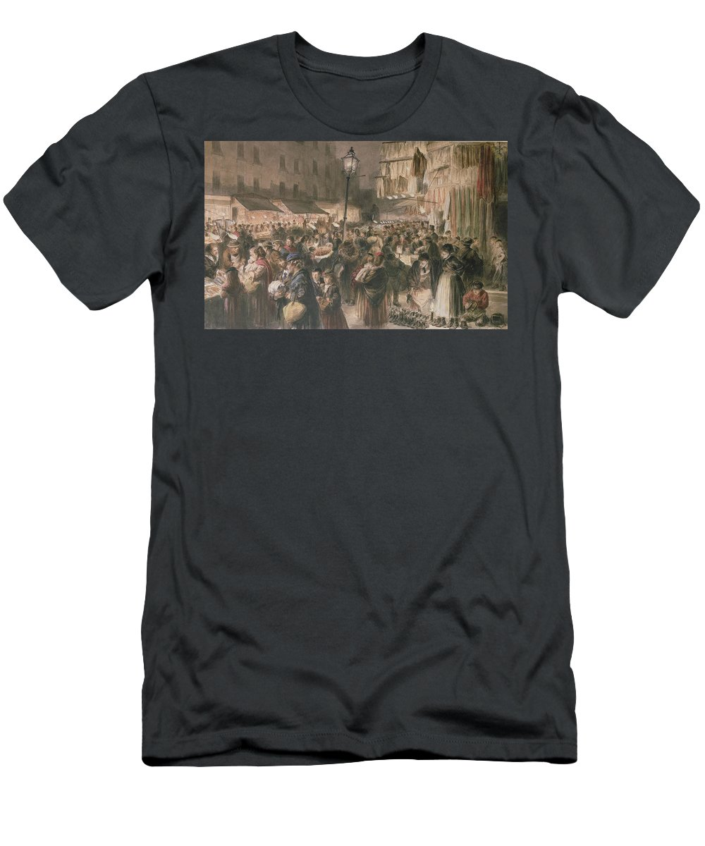 C19th Men's T-Shirt (Athletic Fit) featuring the painting Lambeth Market by Godefroy Durand