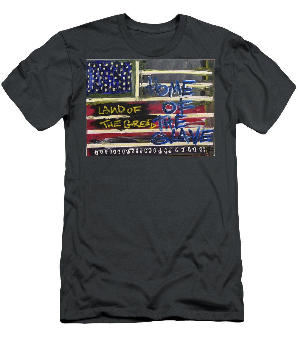 Americanflag Men's T-Shirt (Athletic Fit) featuring the digital art Land Of The Greed Home Of The Slave by Kamoni Khem