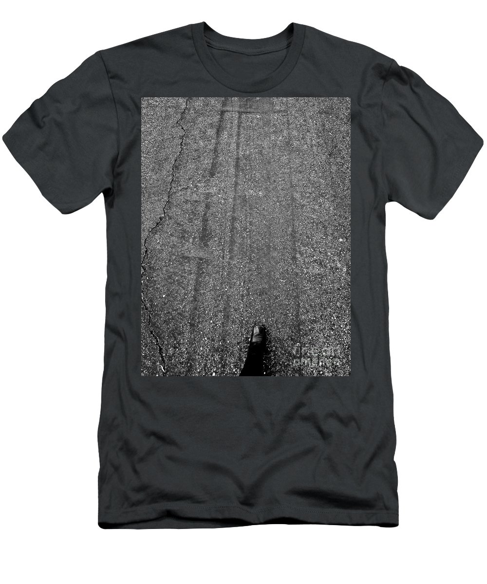 Abstract Men's T-Shirt (Athletic Fit) featuring the photograph Landed Left Foot by Fei A