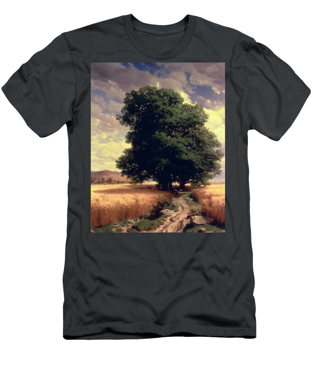 Trees Men's T-Shirt (Athletic Fit) featuring the painting Landscape With Oaks by Alexandre Calame
