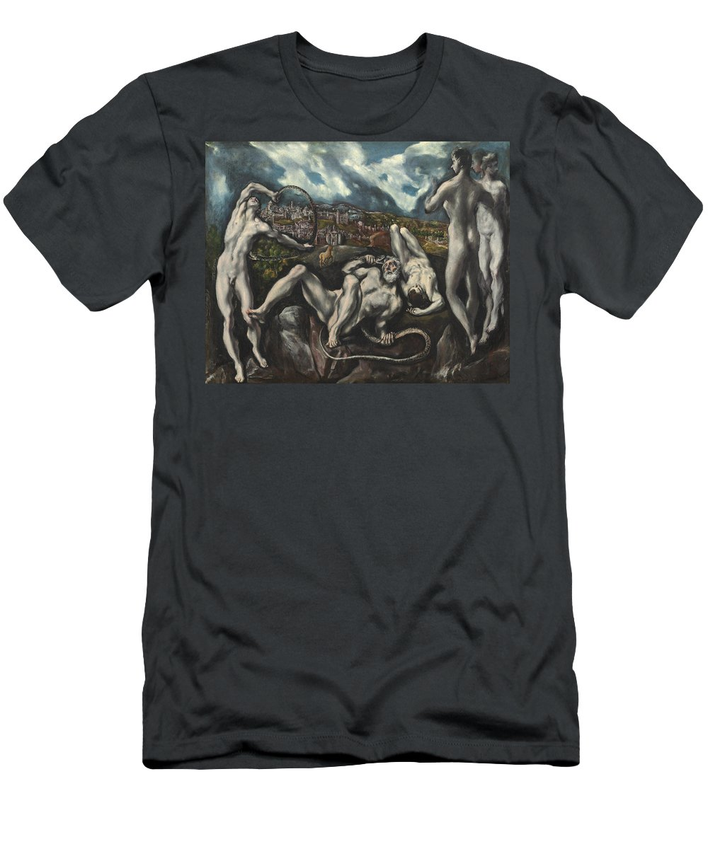 Snake; Struggle; Strangling; Sons; Seer; Wrestling; Snakes; Writhing; Nude; Male; Landscape Men's T-Shirt (Athletic Fit) featuring the painting Laocoon by Domenico Theotocopuli El Greco